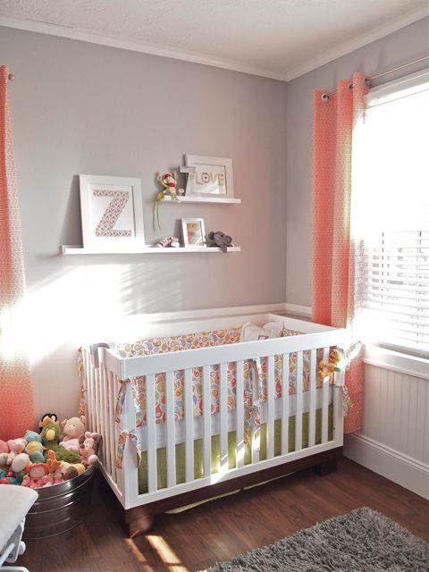 Love the gray walls and bright curtains! And cute idea for stuffed animal storage!