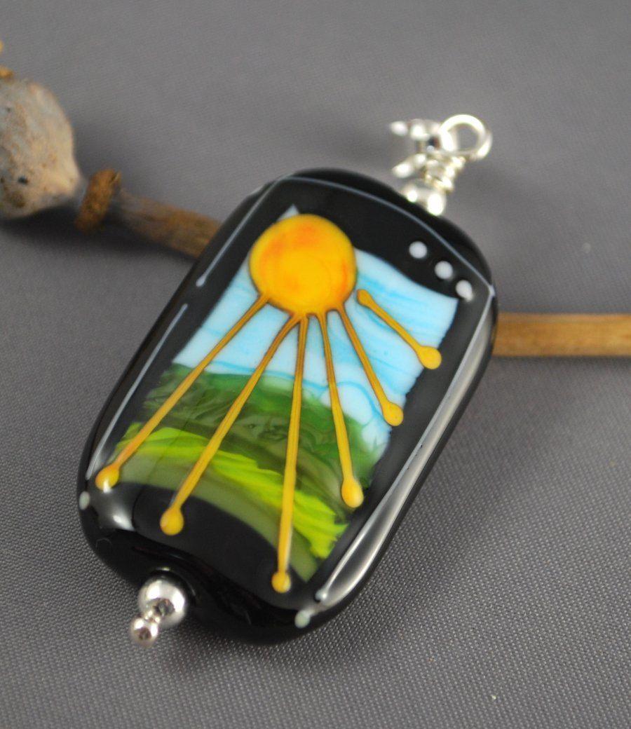 Sunshine On My Shoulders, glass focal pendant.