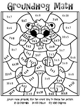 forest fun multiplication mosaics 8 pages of fun color by number rh pinterest com groundhog day dice game presidents day coloring pages - Groundhog Coloring Page