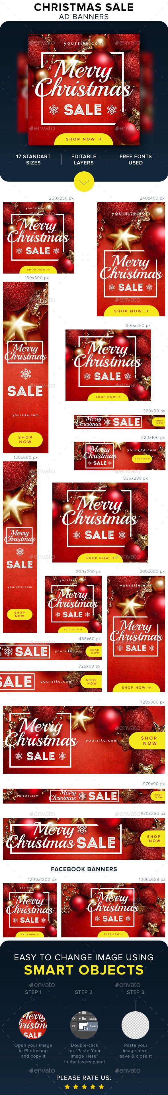 Christmas Sale Banners Template PSD | Banners | Pinterest | Werbung