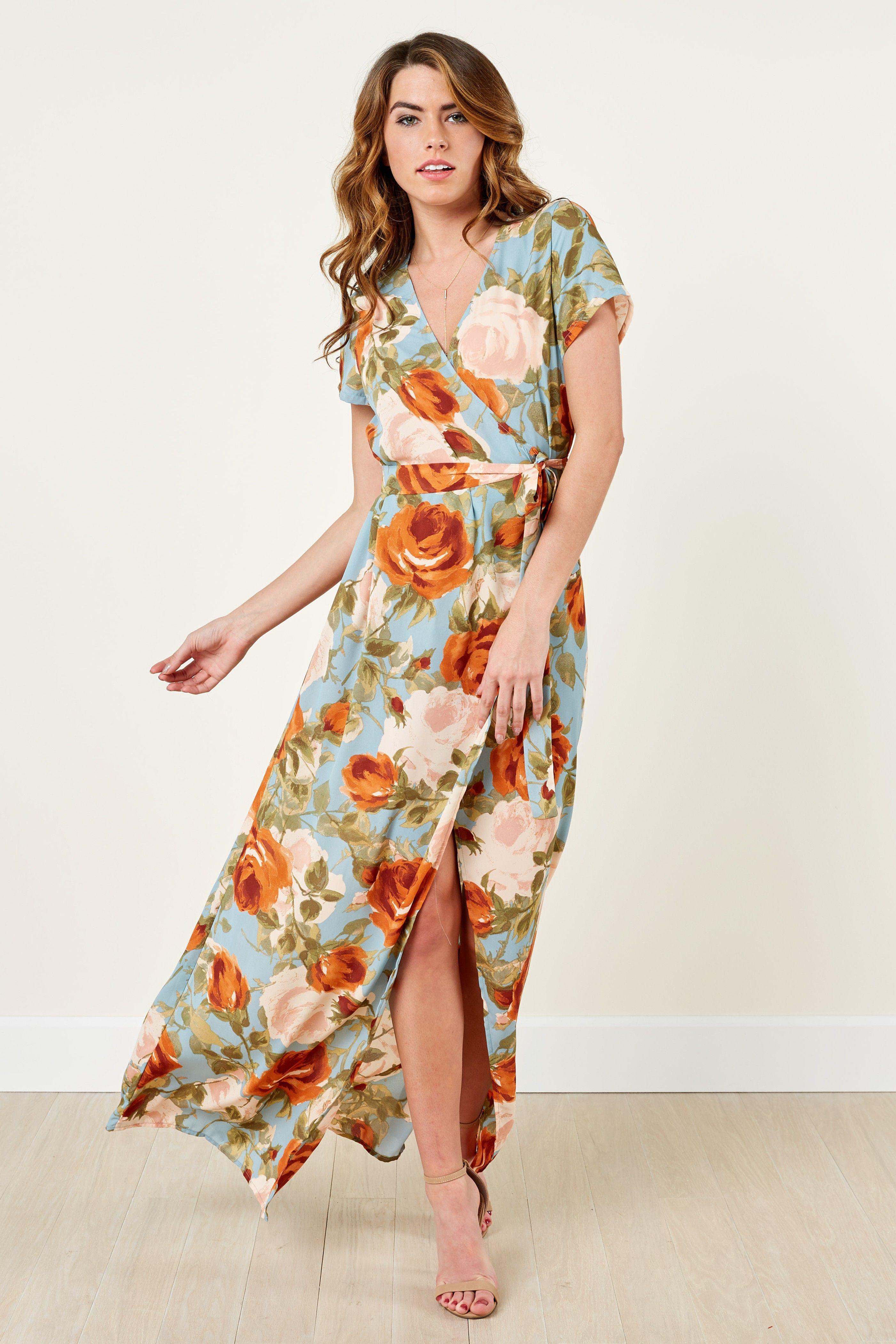 0b6175e58ae6 Love Abounds Floral Print Wrap Maxi Dress at reddressboutique.com ...