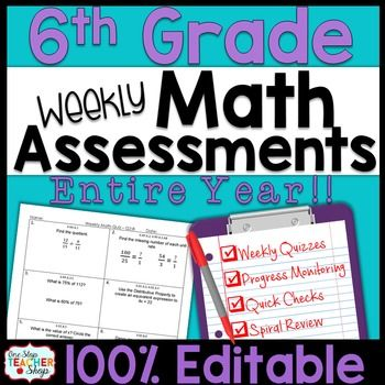 These spiral 6th Grade MATH ASSESSMENTS are perfect for ...