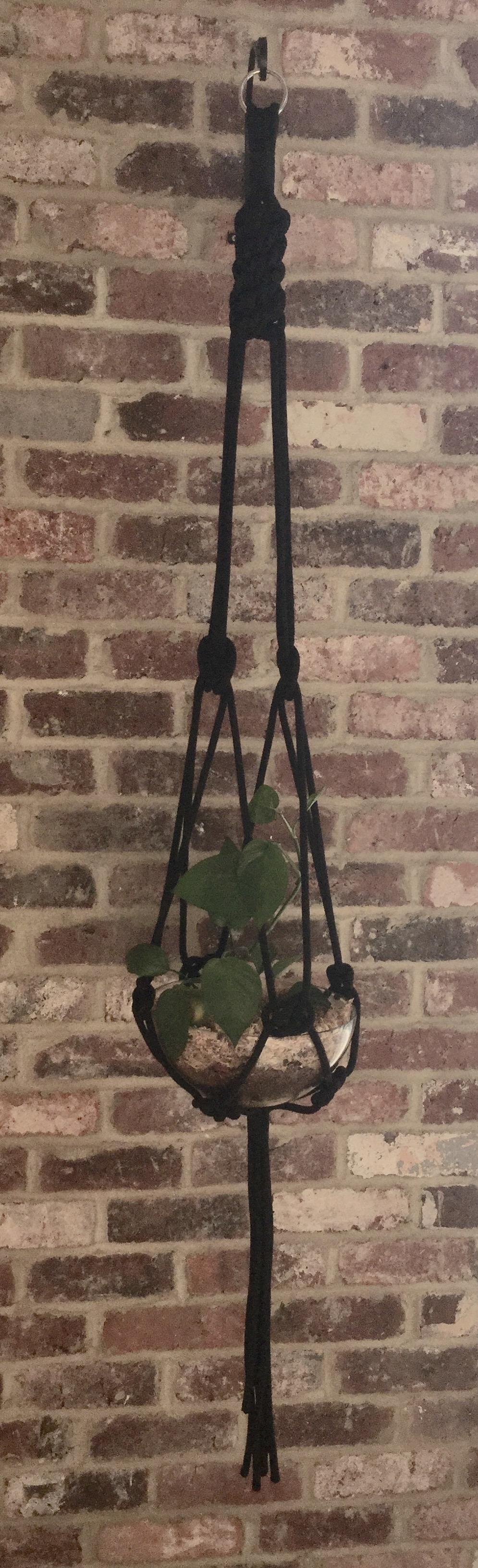 Black Macrame Plant Hanger 8mm Spun Polyester Rope