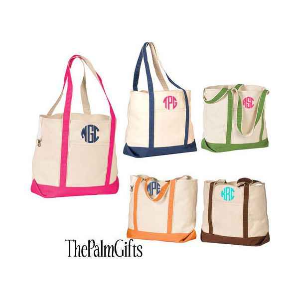 Canvas Beach Bags Personalized Totes Or Monogrammed 28 Liked On Polyvore