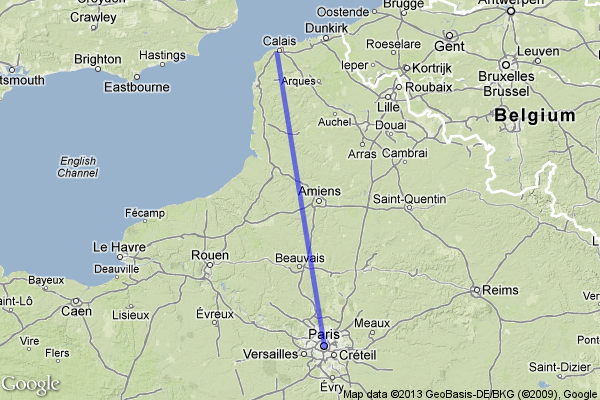 Map Calais to Paris showing Amiens To Tame the Wind by Regan