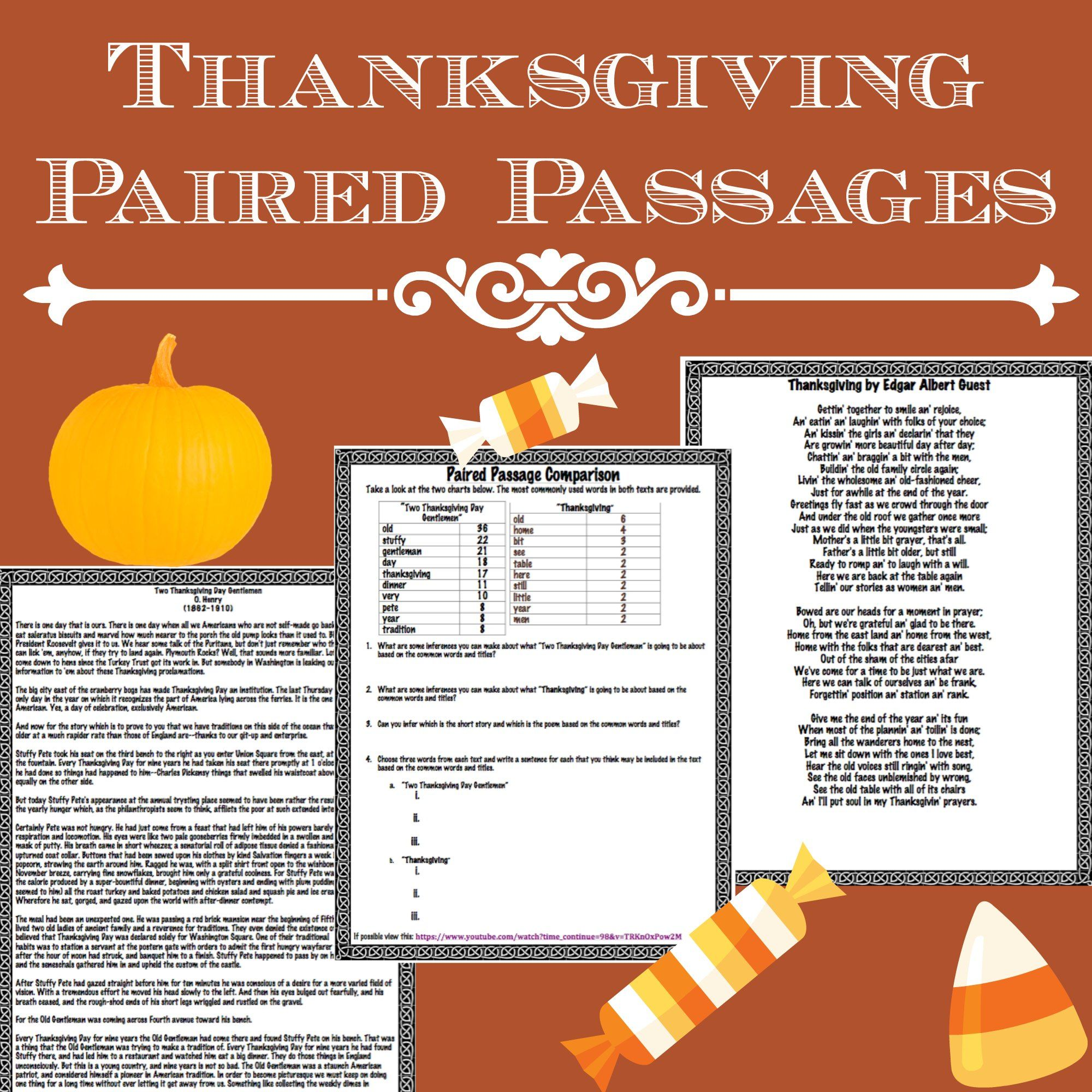 Thanksgiving Short Story Vs Poem Paired Passages