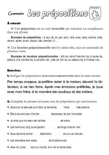 Les Prepositions Preposition Fle Telecharger Modele Cv
