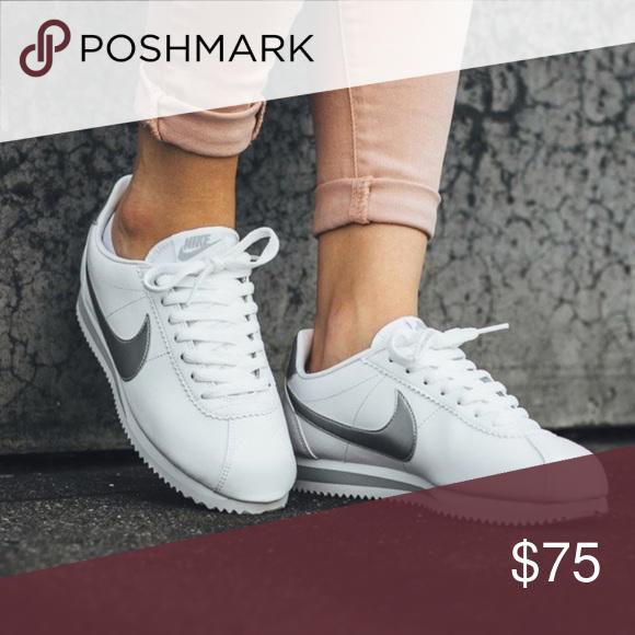 Nike cortez leather white metallic