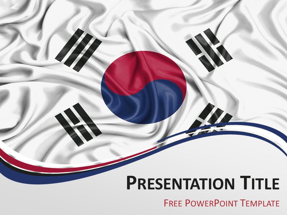 South Korea Flag PowerPoint Template - PresentationGo | South korea ...