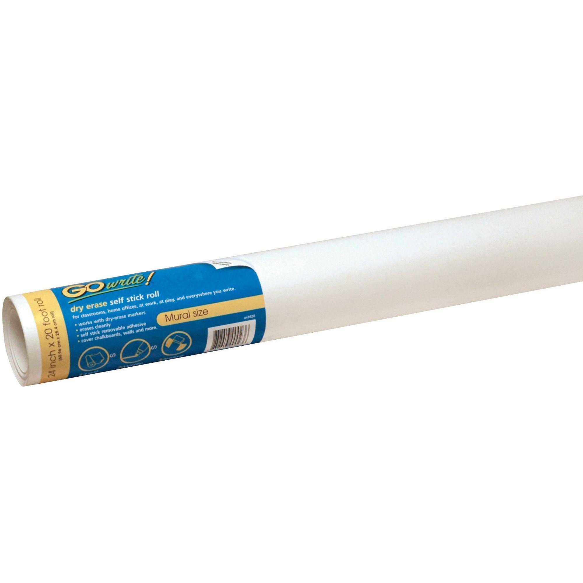 "GoWrite! SelfAdhesive Dry Erase Roll, White, 24"" x 20', 1"