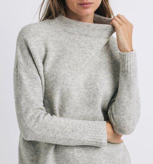 3cb8052f5a2 Pull doux à col montant Femme gris - Promod