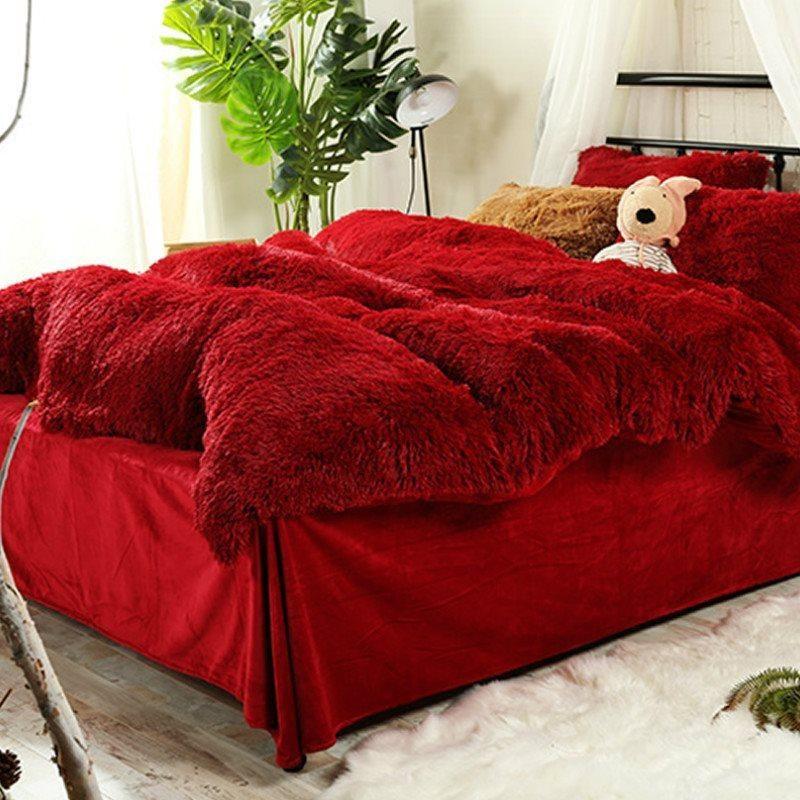 Full Size Hot Red Super Soft Plush 4 Piece Fluffy Bedding Sets Duvet Cover Fluffy Bedding Bedding Sets Red Bedding