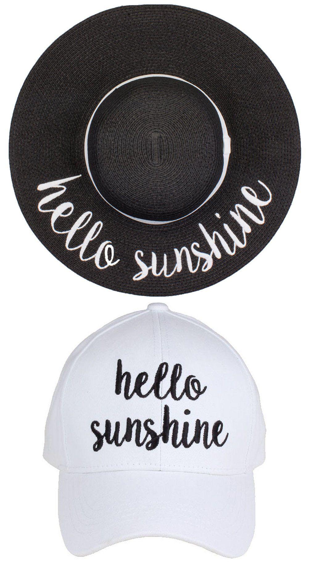 958d7dddca9 C.C Embroidered Baseball Cap   Sun Hat Bundle - Hello Sunshine (Black Sun  Hat