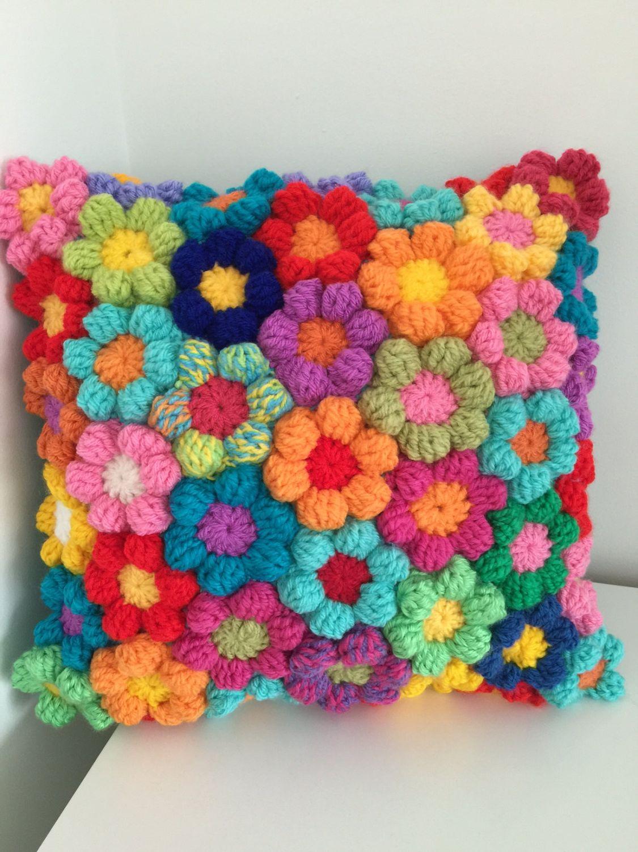 Crochet flower cushion couch pillow wool cushion boho
