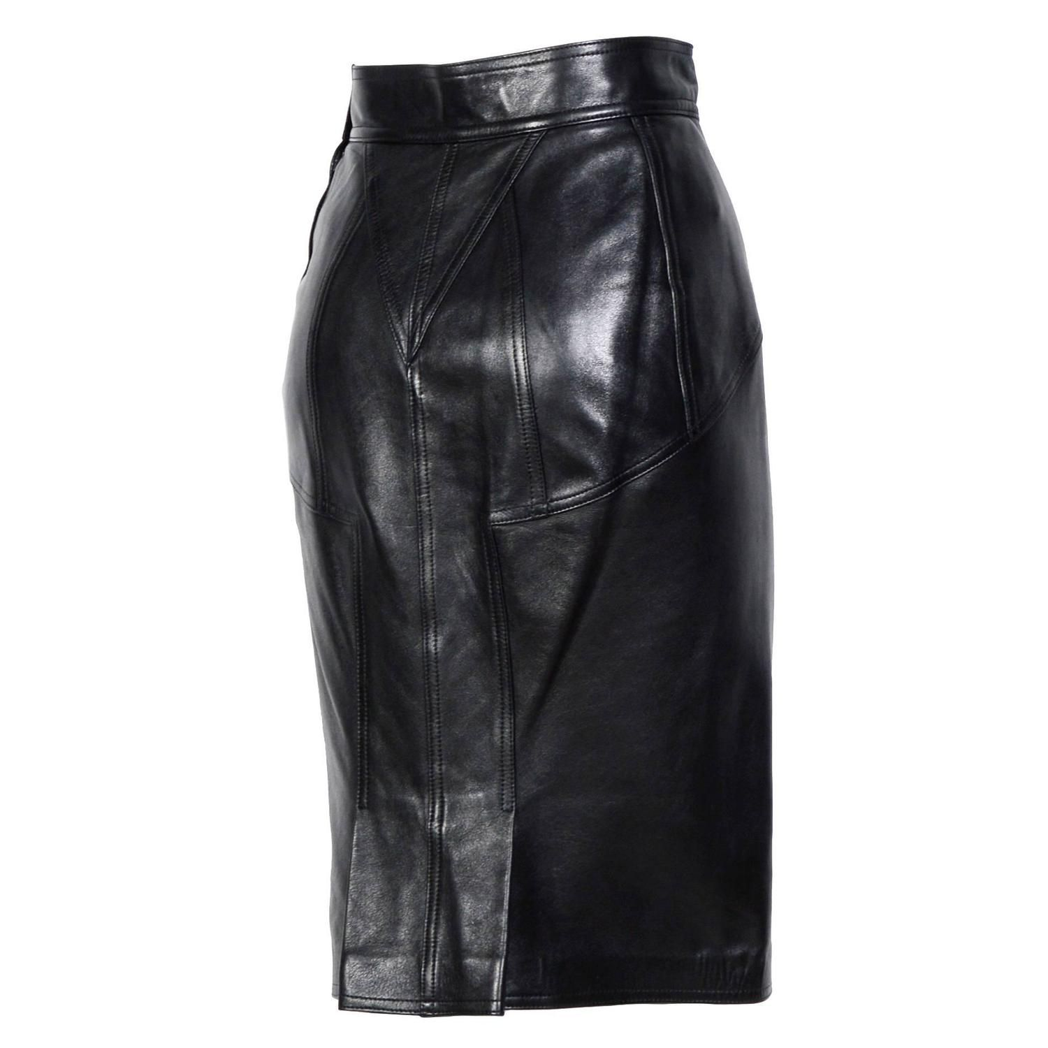 ALAIA Iconic Collection Vintage 80's leather Skirt   From a collection of rare vintage skirts at https://www.1stdibs.com/fashion/clothing/skirts/