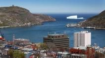 An iceberg is seen just outside of the Narrows of St. John's Harbour in 2014. (PAUL DALY / The Canadian Press)