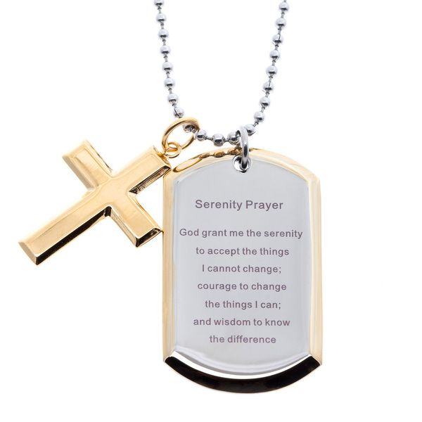 Stainless steel and yellow ip dog tag and cross serenity prayer dog stainless steel and yellow ip dog tag and cross serenity prayer necklace aloadofball Gallery