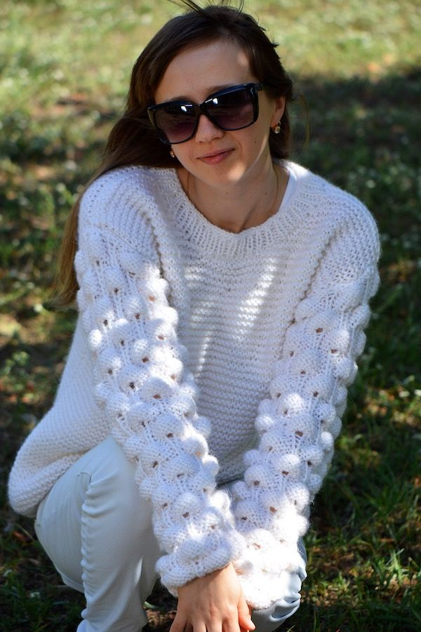 6f57de7c828260 white adult oversized knit sweater with bobbles