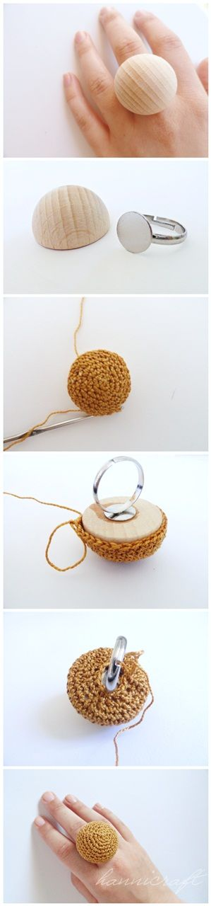 Crocheted rings {how-to} | Anillos | Pinterest | Anillos, Bisutería ...