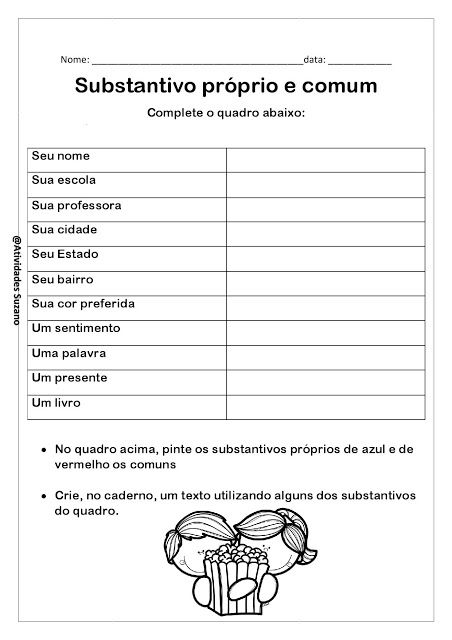 Atividades Para Imprimir Substantivo Proprio E Comum Portugues