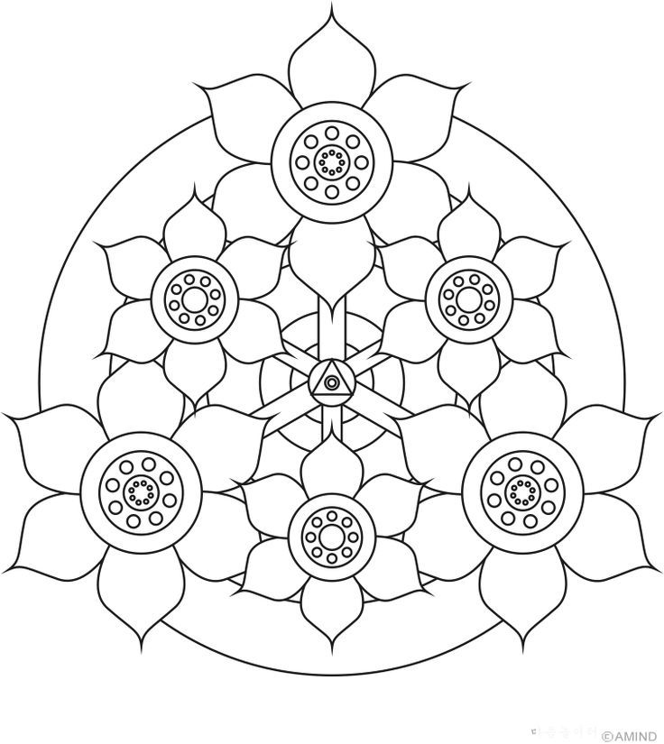 Easy Mandala Coloring Pages - AZ Coloring Pages | Mendala moon ...