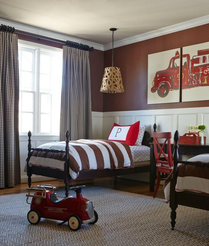 Schöne Kinderbetten Vintage Stil Doppelzimmer Braune Akzente