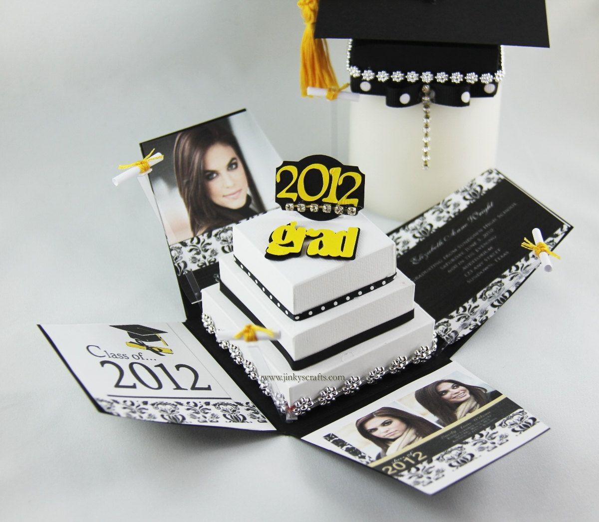 Pyramid Graduation Exploding Box Invitation Announcement PDF Tutorial 850 Via Etsy