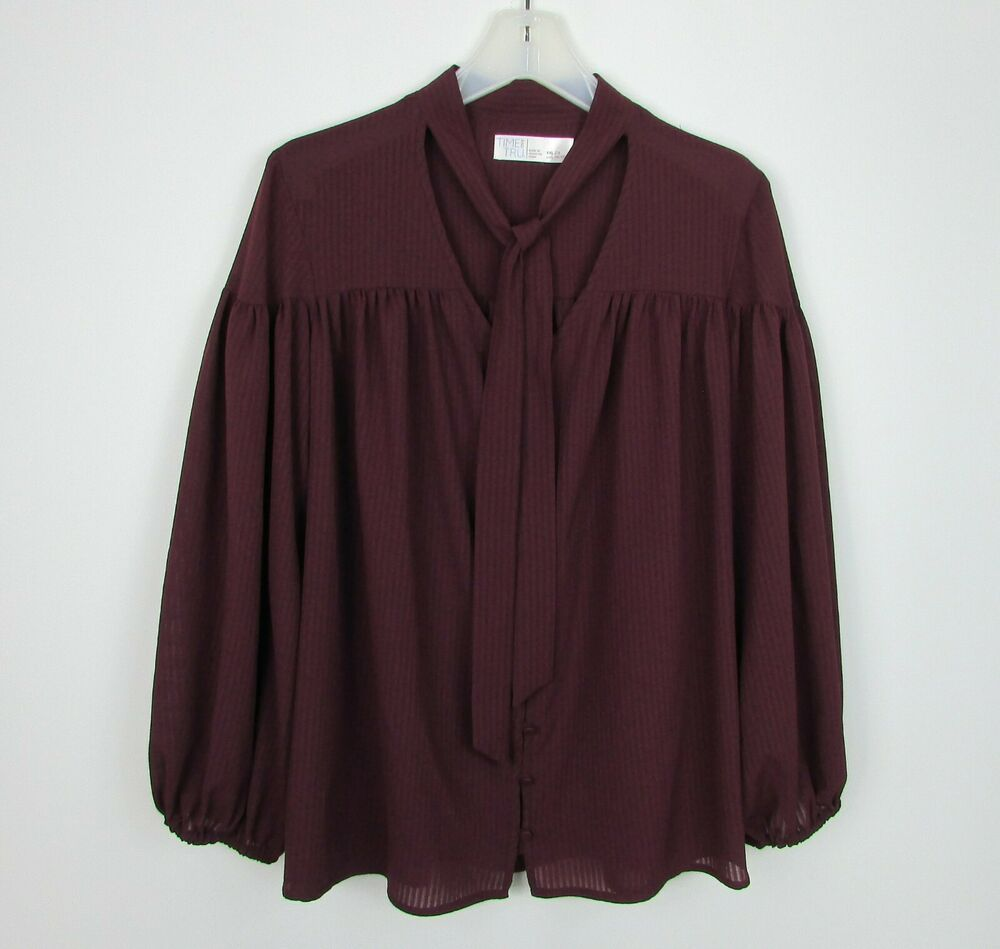 30b1600675 Womens Plus TIME & TRU Sheer Burgundy Button Front Tie Neck Top Size XXL 20  #TimeTru #Blouse #BusinessCasual