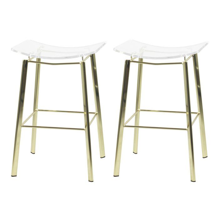 This Lucite Counter Stool Features And Acrylic Saddle Seat And