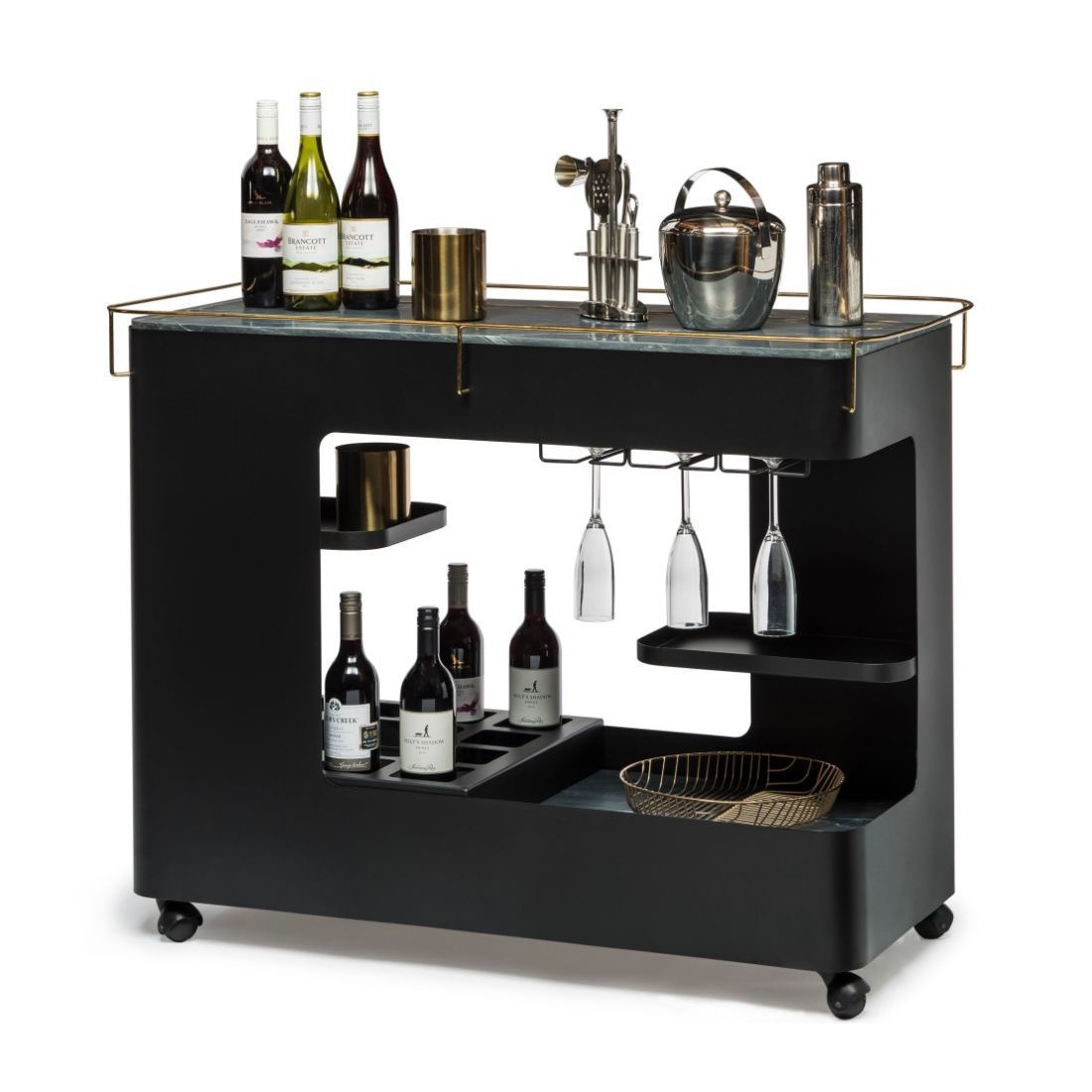 Black Gold Bar Cabinet Cart Contemporary Drinks Trolley Wine Storage With Marble Top In 2020 Wine Storage Modern Drinks Cabinet Bar Cabinet
