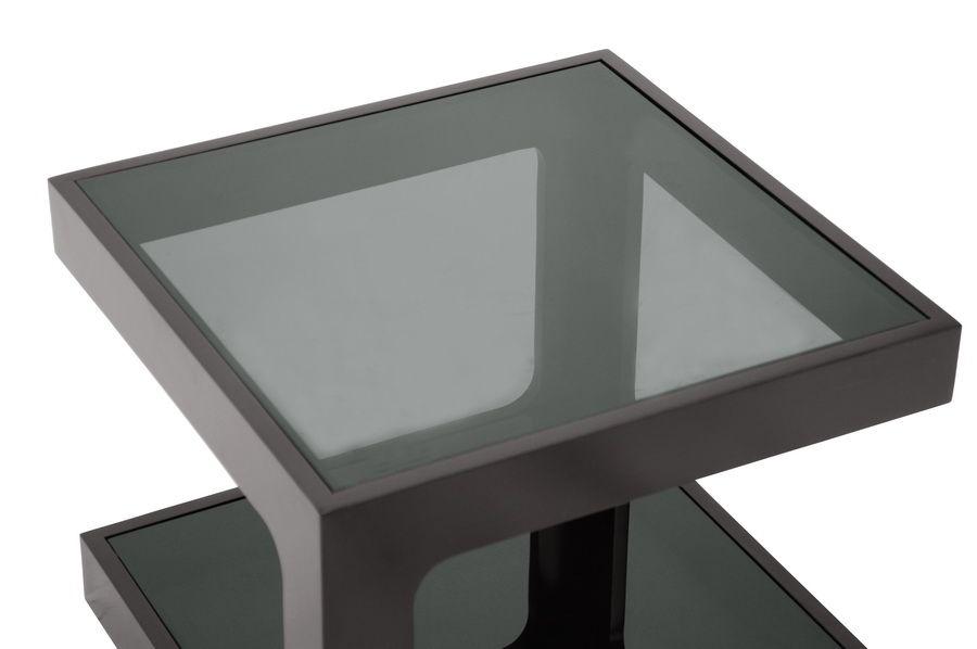 Clara Black Modern End Table With 2 Glass Shelves Modern End
