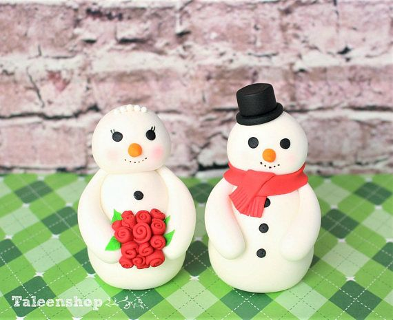 Mr. and Mrs. snowman wedding cake topper Christmas topper ...