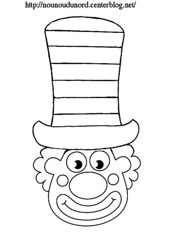Coloriage clown grand chapeau carnaval clown crafts - Coloriage grand ...