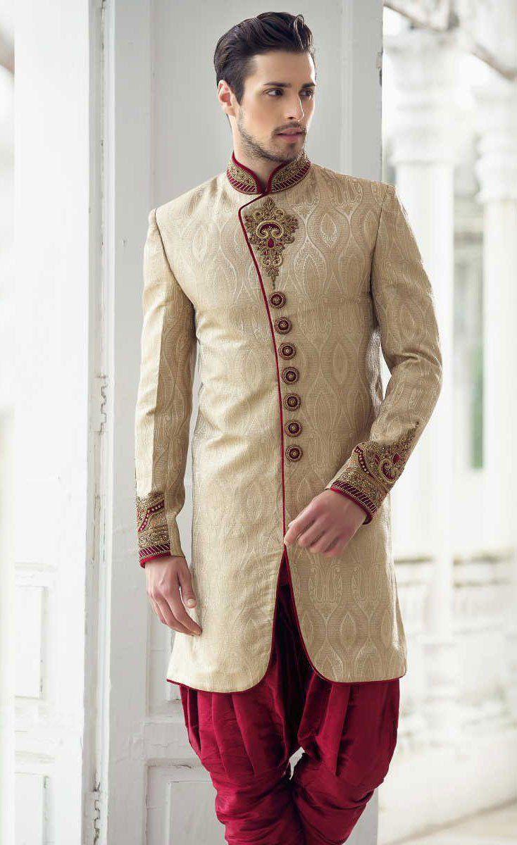 Maroon cream full sleeves silk heavy embroidered menus indo western