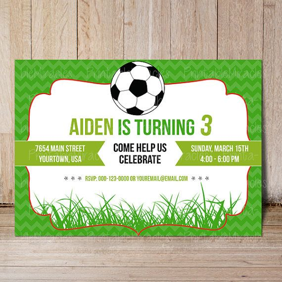 Soccer birthday party invitation Thank you by PrintableMiracles