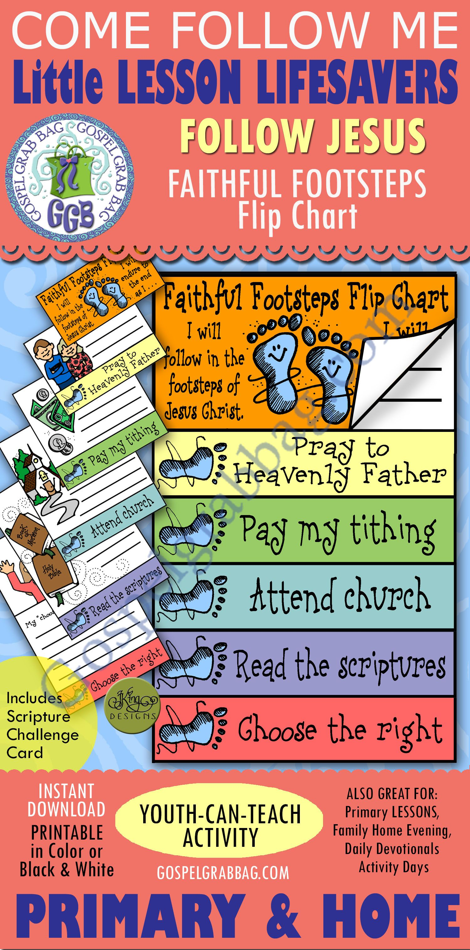 Faithful Footsteps Goal Flip Chart Family Home Evening Scripture Reading Primary Lessons
