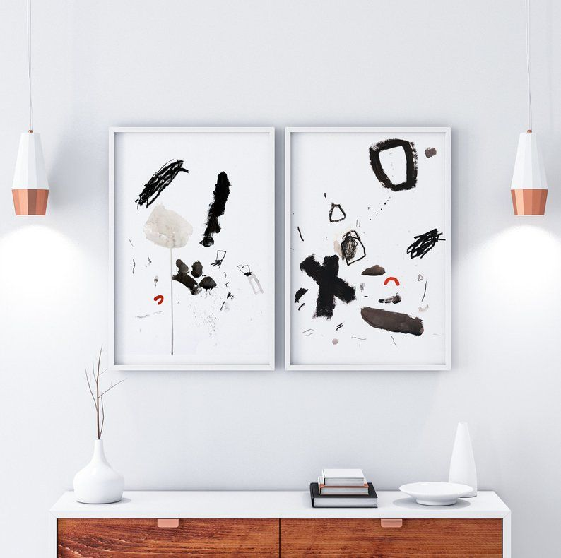 Original Abstract Painting On Paper Diptych Set Of 2 Black And White Elegant Wall Decor Decoration Painting Peinture Abstraite