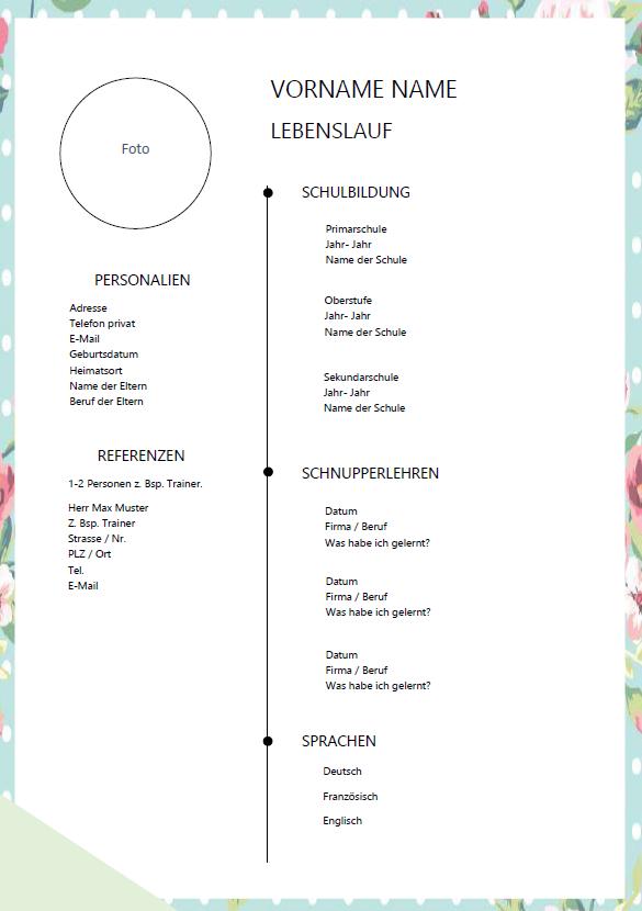 Lebenslauf Für Sekundarschüler Word Vorlage Lebenslauf Cv