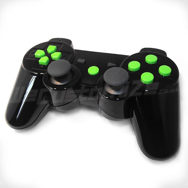 Black Glossy Shell With Green Glossy Buttons