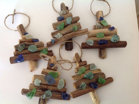 Driftwood and beach glass Christmas tree ornaments | Glass ...