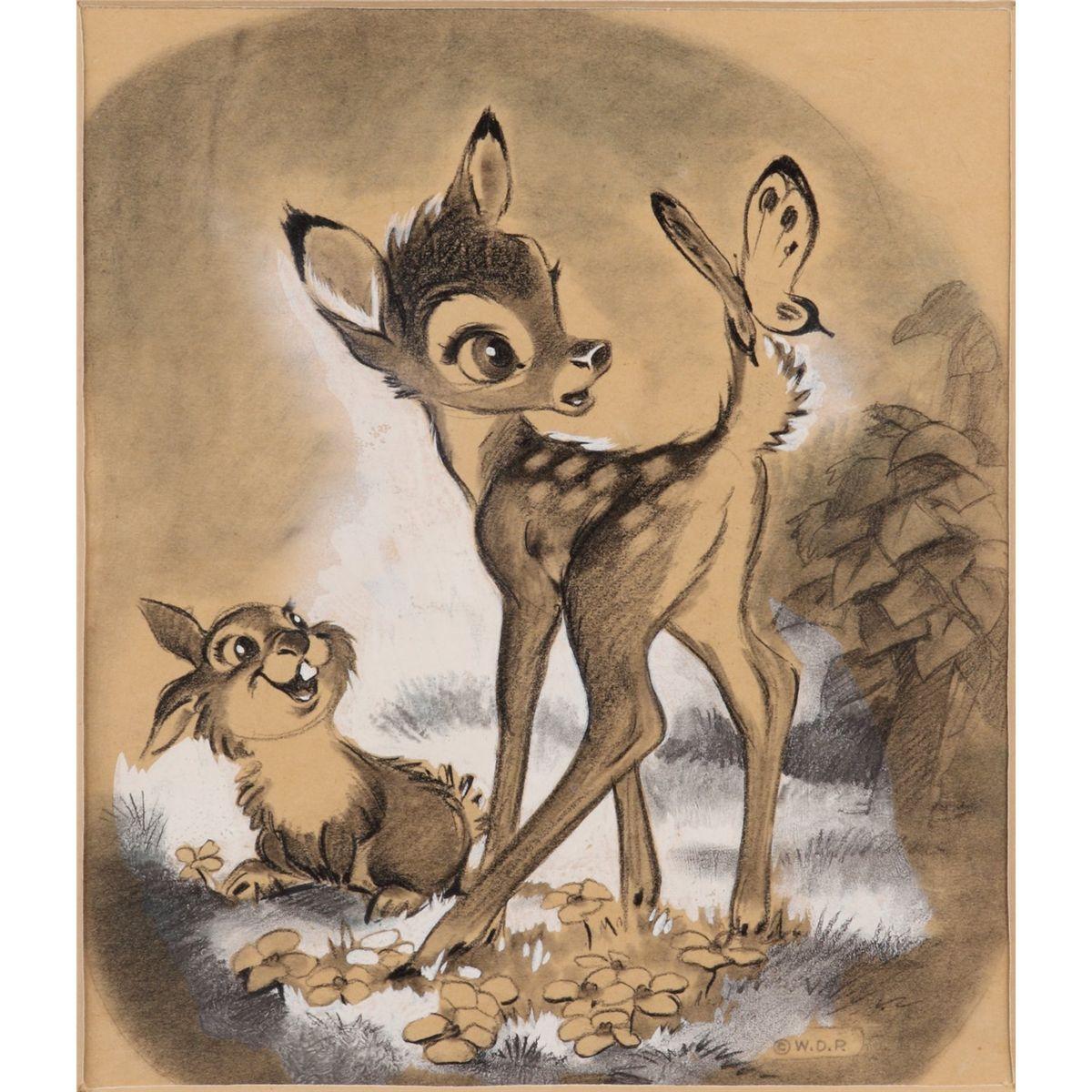 Bambi et Panpan Dessin Bambi & charbon de thumper  Dessins disney