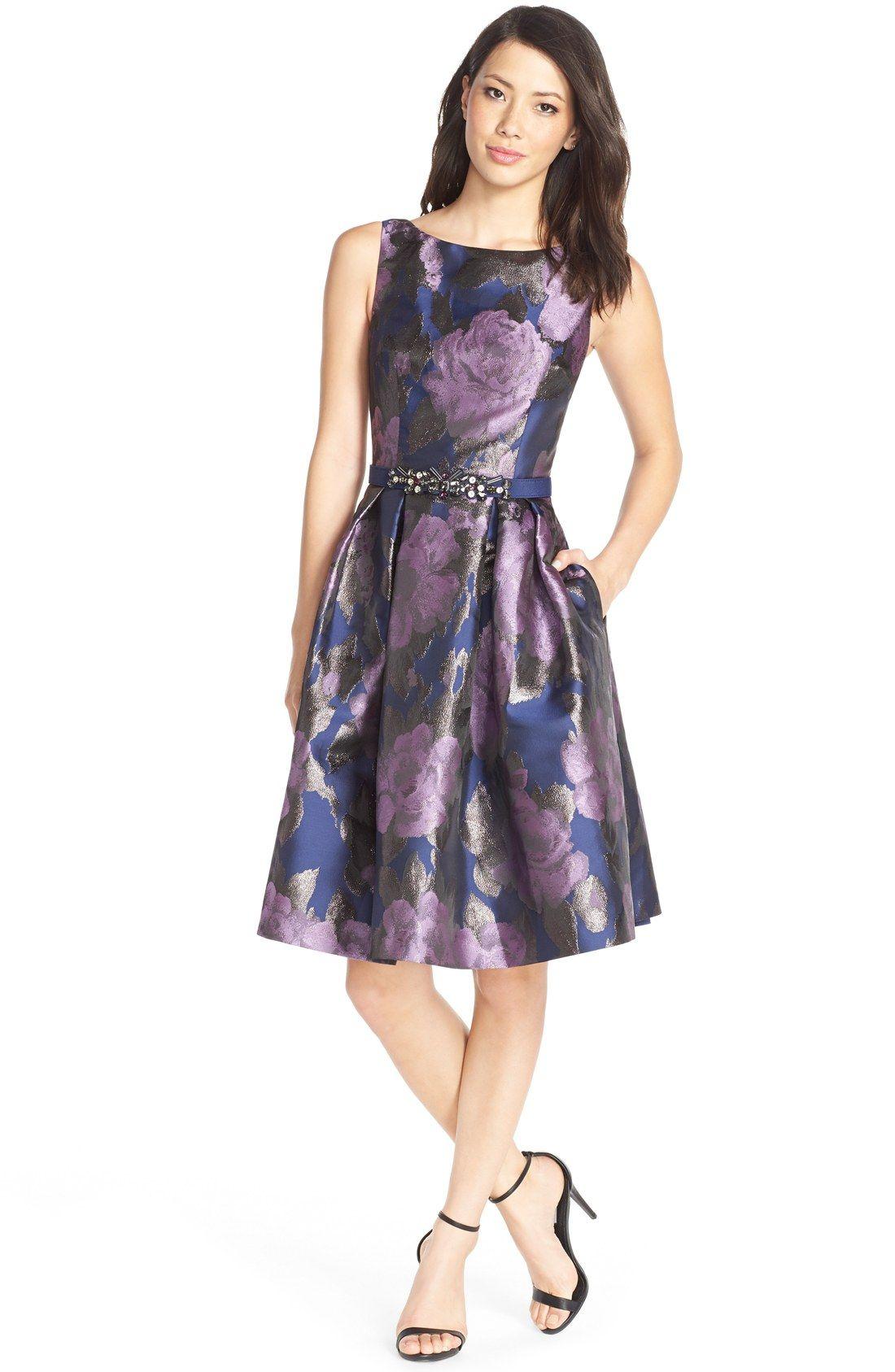 Eliza J Floral Metallic Jacquard Fit & Flare Dress (Regular & Petite ...