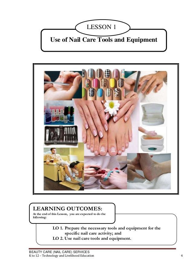 BEAUTY CARE NAIL SERVICES K To 12 Technology And Livelihood Education 4 LO 1 Prepare The Necessary Tools Equ