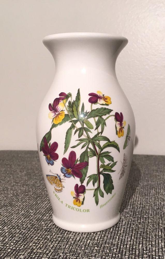 Portmeirion Porcelain Vase Botanic Garden Viola Tricolor Heartsease
