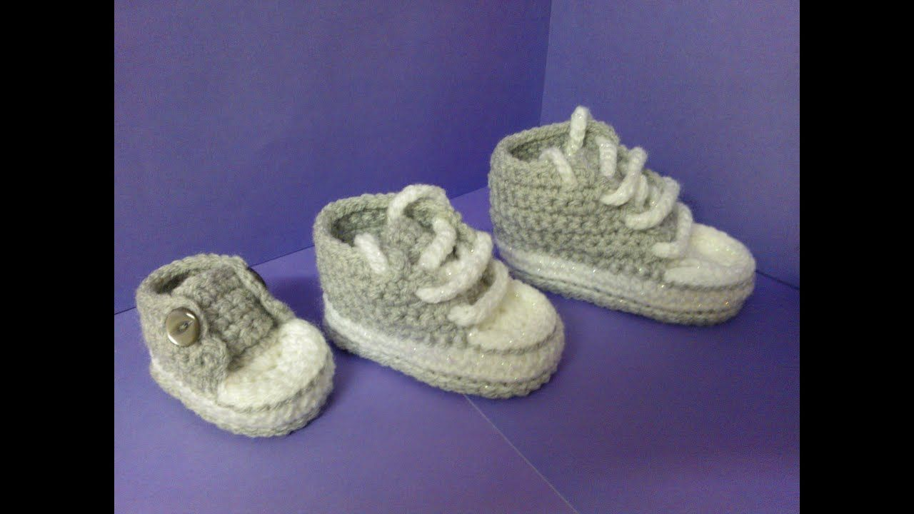 How to crochet My easy new born baby converse style slippers