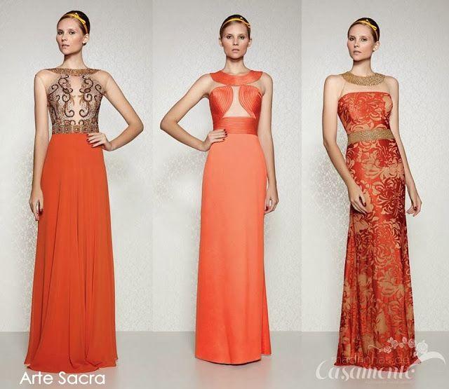efb0f5035 Vestidos de festa longos cor laranja | festa | Dresses, Bridesmaid ...