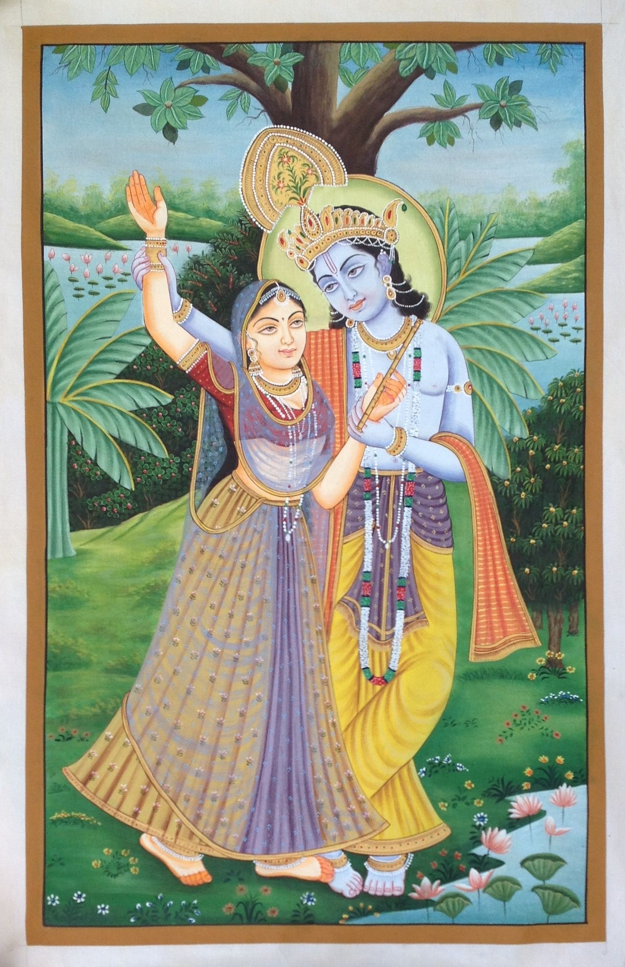 Lord Krishna Radha Painting Handmade Watercolor Hindu ...
