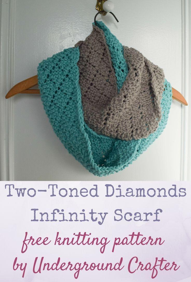 Free knitting pattern two toned diamonds infinity scarf diamond free knitting pattern two toned diamonds infinity scarf bankloansurffo Choice Image