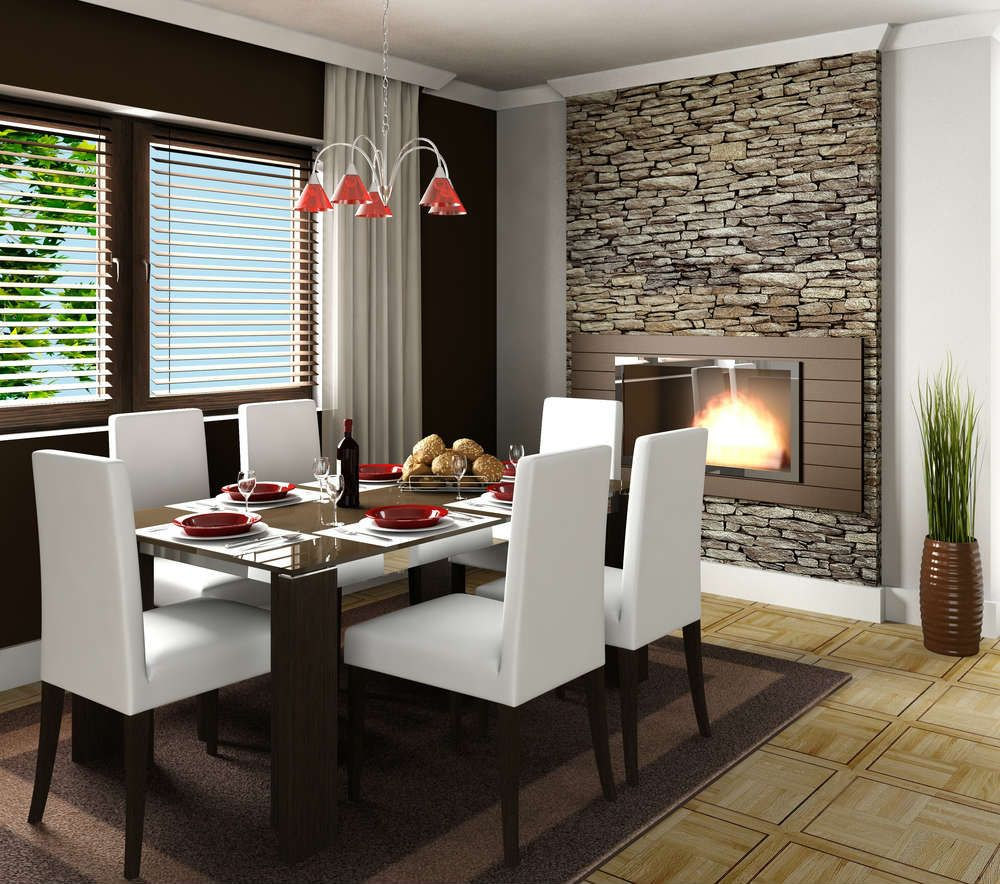 The Modern Fireplace Is Center Of Attraction Here Complimented By Stone Wall Texture Dining RoomsBeautiful
