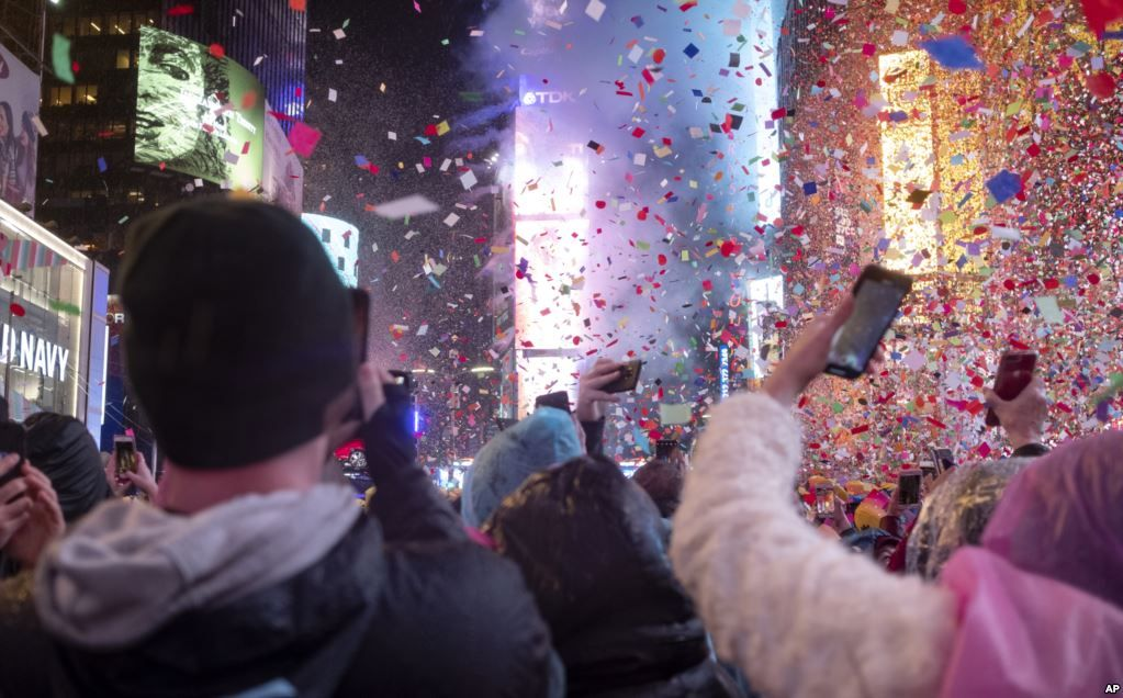 January 1, 2019 Revelers celebrate in Times Square in New